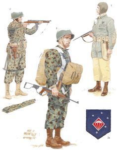 1. Sargento de armamento, 1º Batallón Paracaidista; Quantico, Virginia, 194.    2. Alférez, 2º Batallón Paracaidista; San Diego, California, 1942.   3. Soldado de 1ª clase, 4º Batallón Paracaidista New River, Carolina del Norte, 1943.   Los «marineros» del Cuerpo.