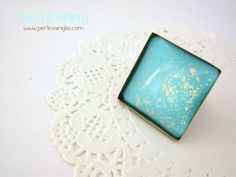 Perle & Vaniglia: Mint Ring Handmade glass cabochon ring #handmade #jewelry #diy #perlevaniglia