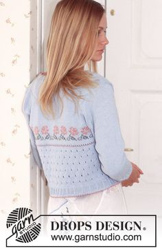 Rose Romance - DROPS Small top and cardigan in Safran and Cotton Viscose. - Free pattern by DROPS Design Drops Design, Knitting Patterns Free, Free Knitting, Free Pattern, Magazine Drops, Crochet Diagram, Work Tops, Cotton Viscose, Chain Stitch