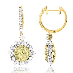 These Unique Designer Ladies White Yellow Diamonds Flower Drop Earrings by Luxurman featuring a unique flower design and carats of dazzling yellow and white diamonds masterfully pave and prong set in solid gold. Beautiful flower gallery on the ba Yellow Jewelry, Sparkly Jewelry, Wedding Jewelry, Gold Jewelry, Vintage Jewelry, Fine Jewelry, Jewellery, Diamond Jewelry, Fashion Earrings
