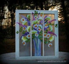 The Perfect Day - Hand Painted Window Old Windows Painted, Painted Window Screens, Window Pane Art, Painting On Glass Windows, Vintage Windows, Window Frames, Painted Window Art, Vintage Doors, Antique Doors