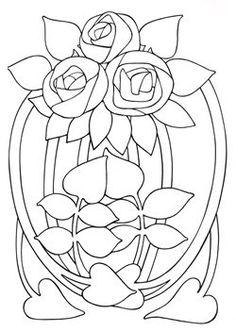 Art Nouveau Designs | Art Nouveau Flowers by Elaine Hamer Design Source Book 33 Search Press