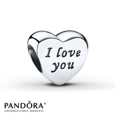 "This sterling silver heart-shaped charm from the PANDORA 2015 Valentine's Day collection is inscribed with the words ""I love you."" Style # 791422."