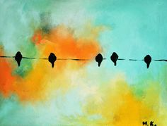 Birds on a wire 128 Original Abstract Painting by AbstractArtM