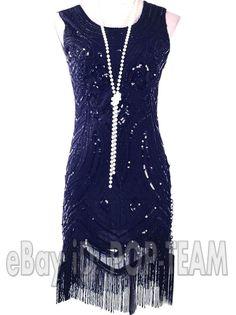 Black Vintage Roaring 20's Gatsby Fancy Costume 1920's Flapper Dress Charleston  #Unbranded #BallGownEveningGownFringeFringeStretchBody #ClubwearCocktailEveningFormalPromWedding