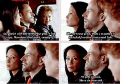 Love Joan trying to cover for Sherlock's rudeness-- This is from Elementary My Dear Watson