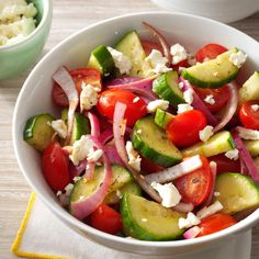 Balsamic Cucumber Salad Recipe -This fast, fresh salad is a winner at every get together. It's an easygoing, healthy side dish for kabobs, chicken or anything hot off the grill. —Blair Lonergan, Rochelle, Virginia