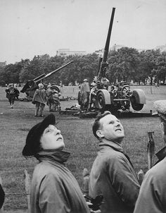 Training on the British QF 3.7 inch AA gun in London's Hyde Park August 1939.