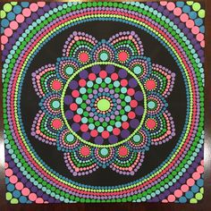 Hand painted 8x8-inch dot mandala painting on flat panel canvas. Painted with black background and dotted using purple, pink, green, and aqua. This would be a beautiful piece hanging in your home/office or propped up on a table/desk. Each item is made special and no two pieces are the same in my shop. If you like this item but would prefer different colors, design, etc., message me though my shop and Ill be happy to do the best I can to make that perfect piece for you. Colors may ...