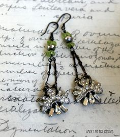 Vintage Rhinestone Peridot and Pyrite One of a Kind by simplymeart, $58.00