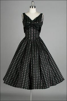 Vintage 1950s Dress . Black . Pink Squares . Full Skirt