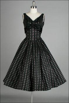 Vintage 1950s Dress . Black . Pink Squares . Full Skirt