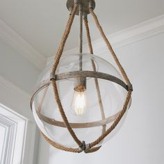 Coastal Cottage Rope Globe Pendant - Shades of Light style outfit style clothing style bathroom coastal style style living room Coastal Farmhouse, Coastal Cottage, Coastal Homes, Coastal Style, Coastal Decor, Modern Farmhouse, Coastal Kitchen Lighting, Cottage Lighting, Coastal Kitchens