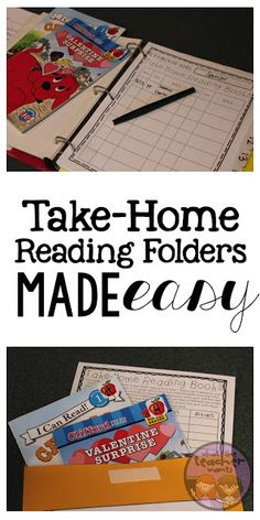 Take home reading folders and how to run a reading library.