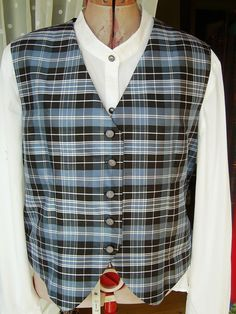 Ladies silk  waistcoat in Clark tartan , very rare silk. Made by Lorna at Exclusively Yours. in Scotland