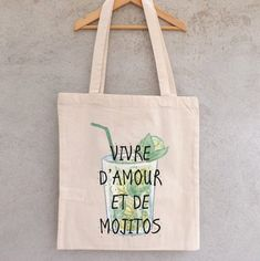"""Tote Bag """"Living of love and of Mojitos"""" - shopping bag Etiquette Thermocollante, Computer, Shopping Bag, Etsy, Handmade Items, Reusable Tote Bags, Mojitos, Printer, Letter"""