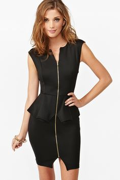 Zipped Peplum Dress