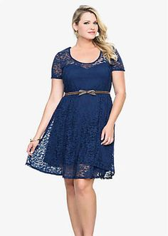 Navy Lace Belted Dress, $68.50, Torrid | 30 Rad Plus Size Holiday Party Dresses Under $100