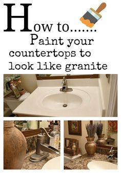 DIY:: How to easily paint your counter tops to look like granite !! And you don't have to be a pro. Great Step by Step Tutorial by @deb rouse schwedhelm rouse schwedhelm rouse schwedhelm rouse schwedhelm rouse schwedhelm Depew's