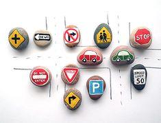 Magnetic Road Sign & Pebble Car Set (via Etsy)