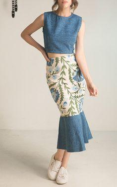Blue Dakota Ruffle Skirt  by MOCHI Now Available on Moda Operandi