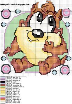 Punto De Cruz baby taz cross stitch pattern with color key Cross Stitch Fabric, Cute Cross Stitch, Beaded Cross Stitch, Cross Stitch Charts, Cross Stitch Designs, Cross Stitching, Cross Stitch Embroidery, Cross Stitch Patterns, Disney Stitch