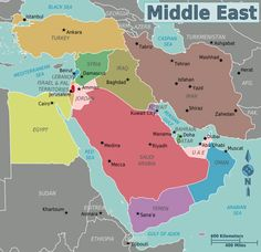 This is a Strategic Map of the Middle East and North Africa  2010
