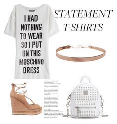 """""""statement t-shirt"""" by geopaganeli on Polyvore featuring Moschino, Sam Edelman and Humble Chic"""