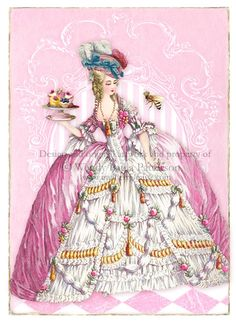 Marie Antoinette Patisserie Rose ACEO Giclee by CafeBaudelaire
