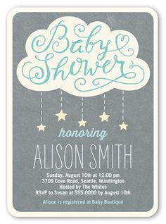 Showering Stars Boy 5x7 Invitation | Baby Shower Invitations | Shutterfly