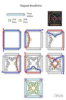 Szilu: Gothic Square mintája - use silver tubes Free Beading Tutorials, Beading Patterns Free, Jewelry Making Tutorials, Jewelry Patterns, Bracelet Patterns, Beading Ideas, Beaded Beads, Bugle Beads, Beads And Wire