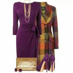Purple and multicolored plaid