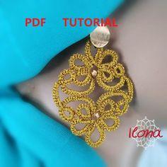 Tatting earrings Tutorial PDF Tatting Earrings, Tatting Jewelry, Rose Gold Earrings, Crochet Clutch Bags, Greek Evil Eye, How To Make Rings, Needle Tatting, Earring Tutorial, Rose Gold Color