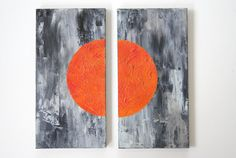 Orange Black Abstract Acrylic Diptych Original by CrystalHensonArt