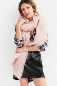 Nubby Oversized Blanket Scarf,PINK,ONE SIZE #fashion