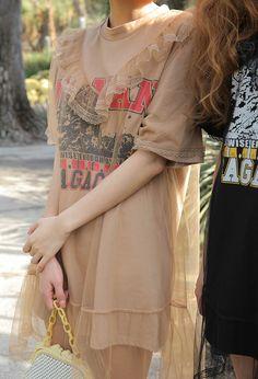 Frilled See-Through Overlay T-Shirt Dress | STYLENANDA