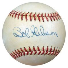 Bob Gibson Autographed NL Baseball PSA/DNA #S46006 . $69.00. This is an Official National League Baseball that has been hand signed by Bob Gibson. The autograph has been authenticated by PSA/DNA. It comes with their sticker and matching certificate of authenticity.