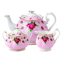 Youthful and exuberant, this beautiful 3-Piece Tea Set includes a teapot, covered sugar bowl and creamer, all rendered in fine bone china and combining classic form with intricate detailing, vibrant colors and a lustrous gold rim.