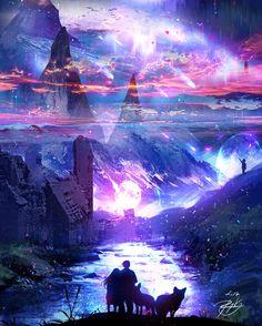 Reflection by ryky on DeviantArt Fantasy Art Landscapes, Fantasy Landscape, Fantasy Artwork, Landscape Art, Anime Scenery Wallpaper, Galaxy Wallpaper, Fantasy Kunst, Fantasy Castle, Fantasy Places