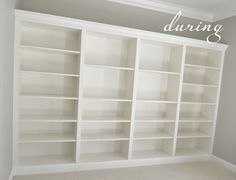 Ikea Billy bookcases made into built-ins.  Perfect for a finished look yet still able to take with us when we move.
