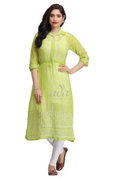 Ada Hand Embroidered Green Faux Georgette Lucknowi Chikankari Kurti -A162331 Price Rs.1,550.00 #Ada_Chikan #chikan kurti design #Classy #IndianWear kurti #chicken embroidery kurti #chicken long kurti #chikan dress design #lucknowi kurtis patterns #lucknowi kadai kurti #chikan anarkali #green chikan dress material #lucknow chikankari #lakhnavi work kurti #latest chikan kurti #lakhnavi long kurti #cheap lucknowi kurtis #green chikankari kurta #lucknowi kurtas online shopping #ladies kurti