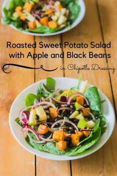 Roasted Sweet Potato Salad with Apple and Black Beans... a delicious side dish for Thanksgiving or Christmas dinner!