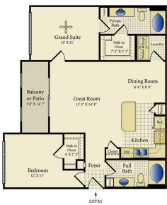 """""""Santa Fe"""" Two Bedroom Two Bathroom 1085 sq.- obviously an apt layout but ki. - House Plans, Home Plan Designs, Floor Plans and Blueprints Cottage Floor Plans, Cottage Plan, House Floor Plans, Shop House Plans, Small House Plans, Floor Plans 2 Story, Barndominium Floor Plans, Bathroom Floor Plans, House With Porch"""