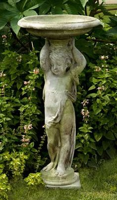 Cherub Bird Bath Outdoor Religious Garden Statue Statuary Made of Faux Concrete/Stone. Available in Ten Outdoor Friendly Finishes. View the Entire Collection of Religious Statues for the Garden at AllSculptures.com
