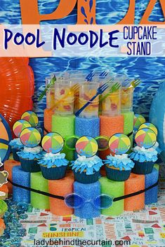Pool Noodle Cupcake Stand - - The perfect Pool Party Centerpiece! Add a little more fun to the party with a cupcake stand made out of pool noodles. Not only does this Pool N. Pool Party Centerpieces, Pool Party Cakes, Pool Party Themes, Pool Party Decorations, Cupcake Party, Birthday Party Themes, Birthday Ideas, 5th Birthday, Pool Cupcakes