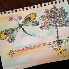 Dragonfly with peacock colors inspiration and swirl tree #watercolor #sharpie #doodling