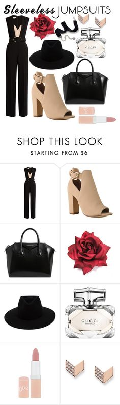 """sleeveless jumpsuits"" by hemmafashionqueen ❤ liked on Polyvore featuring STELLA McCARTNEY, Givenchy, rag & bone, Gucci, Rimmel, FOSSIL, Sweet Romance and sleevelessjumpsuits"