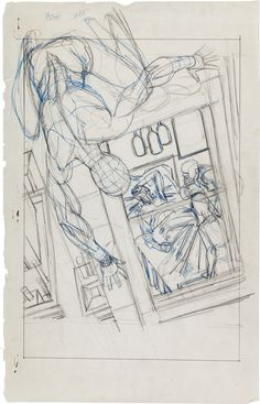 Amazing Spider-Man #121 Splash Page 1 Preliminary Sketch by Gil Kane