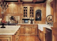 Canyon Creek - Falmouth Solid/Inset/Rustic Alder in Honey w/Chocolate glaze traditional kitchen Hickory Kitchen Cabinets, Cottage Kitchen Cabinets, Kitchen Decor, Natural Hickory Cabinets, Antique Kitchen Cabinets, Inset Cabinets, Brown Cabinets, Bath Cabinets, Rustic Cabinets