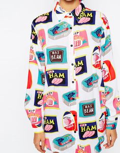 Image 3 of Lazy Oaf Oversized Shirt With Tinned Food Print Food Print c9e6239704c0f